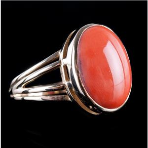 Vintage 1940's 14k Yellow Gold Oval Cabochon Cut Coral Solitaire Ring 13.0ct