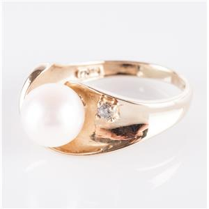 10k Yellow Gold Cultured Freshwater Pearl Solitaire Ring W/ Diamond Accent