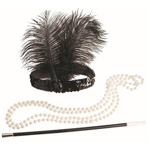 Roaring 20s Flapper Kit Headband, Necklace and Cigarette Holder