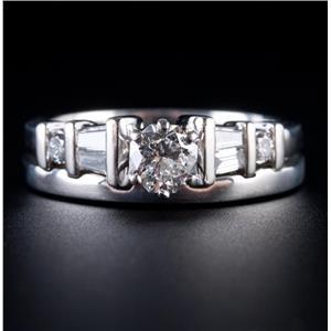 Platinum Round Cut Diamond Solitaire Engagement / Wedding Ring Set .79ctw