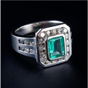 14k White Gold Emerald Cut Emerald & Round Cut Diamond Cocktail Ring 2.72ctw
