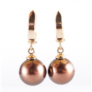 14k Yellow Gold Round Cultured Brown Tahitian Pearl Dangle Earrings