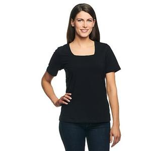 Denim & Co Essentials 3X Black Perfect Jersey Short Sleeve Square Neck Top