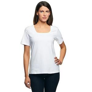 Denim & Co Essentials 1X White Perfect Jersey Short Sleeve Square Neck Top