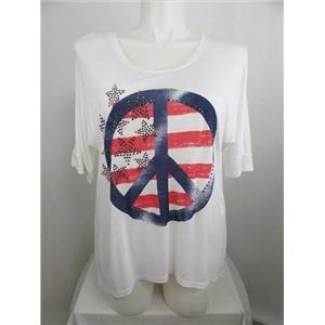 INC International Concepts Woman 1X White Embellished Peace Sign Slub Knit Top