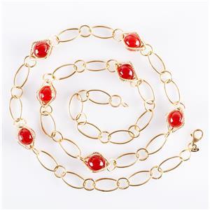 "14k Yellow Gold Round Bead Cut Carnelian Necklace / Earring Set 22"" Length 19.4g"