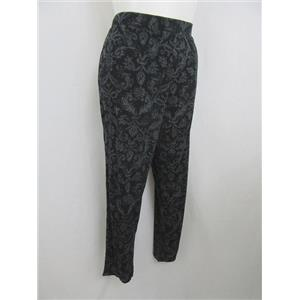 "Susan Graver 1X- 30"" Inseam Grey Printed Liquid Knit Slim Leg Pull-on Pants"