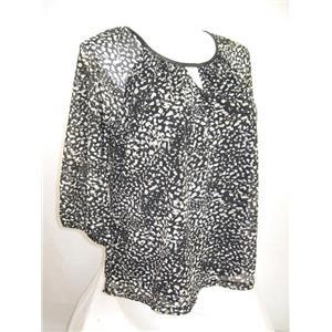 Apt 9 Size 1X 3/4 Raglan Sleeve Splash Dot Tan Peasant Style Top with Lining