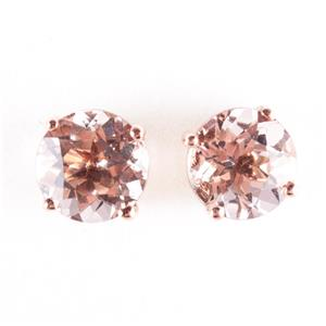 14k Rose Gold Round Cut Morganite Solitaire Stud Earrings 2.40ctw