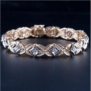 14k Yellow & White Gold Two-Tone Round Cut Diamond Heavy Bracelet 3.22ctw 35.1g