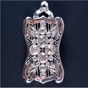 Vintage 1930's Platinum Diamond Large Heavy Brooch / Pendant 5.88ctw 18.0g