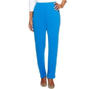 Susan Graver Essentials 2X (Petite) Blue Water Liquid Knit Straight Leg Pants