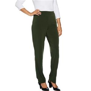 Susan Graver Essentials Size 1X (Petite) Loden Liquid Knit Straight Leg Pants