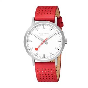 Mondaine Swiss Railways Watch.Perforated Red Leather Strap Mens A660.30360.16SBC