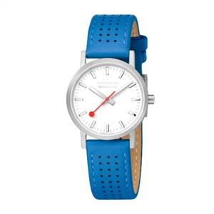 Mondaine Swiss Railways Watch Ladies Blue Perforated Strap.A658.30323.16sbd