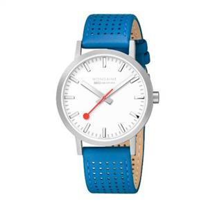 Mondaine Swiss Railways Watch Mens. Blue Perforated Strap. A660.30360.16SBD