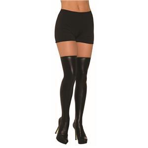 Black Knee High Liquid Leather Vinyl Spandex Socks Costume Accessory