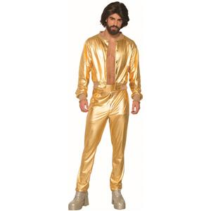 Disco Singer Gold Jogging Suit Adult Mens Costume