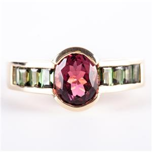 14k Yellow Gold Half Bezel Set Pink Tourmaline & Green Tourmaline Ring 2.07ctw