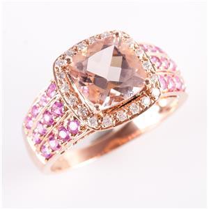 14k Rose Gold Morganite & Sapphire & Diamond Halo Style Cocktail Ring 4.12ctw