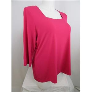 Susan Graver Essentials Size 1X Deep Pink Liquid Knit 3/4 Sl Square Neck Top