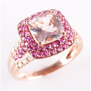 14k Rose Gold Morganite & Sapphire & Diamond Halo Style Cocktail Ring 4.73ctw