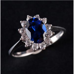 10k White Gold Oval Cut Lab Sapphire & Cubic Zirconia Halo Style Ring 2.22ctw