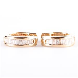 14k Yellow Gold Baguette Cut Diamond Channel Set Huggie Hoop Earrings .40ctw