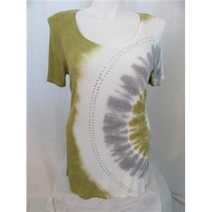 INC International Concepts Woman 1X Short Sl Pear/White Rhinestone Tie Dye Top