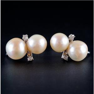 14k White Gold Freshwater Cultured Pearl & Diamond Clip On Screw Back Earrings