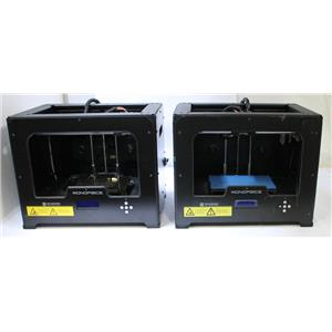 Lot of 2 Monoprice 11614 Dual Extrusion Desktop 3D Printers