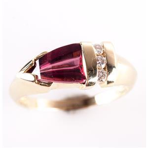 14k Yellow Gold Fancy Cut Tourmaline & Round Cut Diamond Ring 1.36ctw