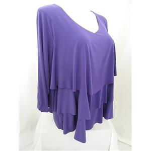 Susan Graver Size 3X Liquid Knit Chevron Tiered Top w/ 3/4 Sleeves - Very Violet