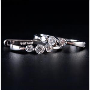 14k White Gold Round Cut Diamond Huggie Earrings W/ Leverbacks .26ctw