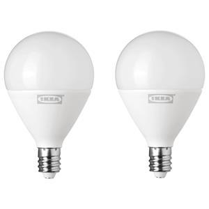 RYET IKEA LED1518G3 LED bulb 2.8W E12 200lm globe opal white 15000hr 2pk