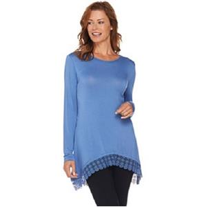 LOGO by Lori Goldstein Size 2X Dockside Blue Knit Top with Lace Trim