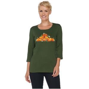 Quacker Factory Size 1X Dark Olive Pumpkin Patch 3/4 Sleeve T-shirt