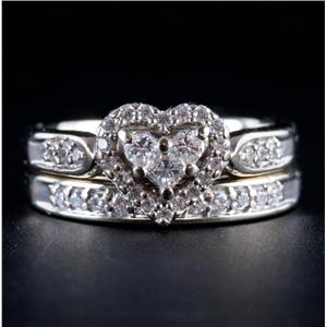14k White Gold Round Cut Diamond Heart Halo Style Engagement Ring Set .565ctw