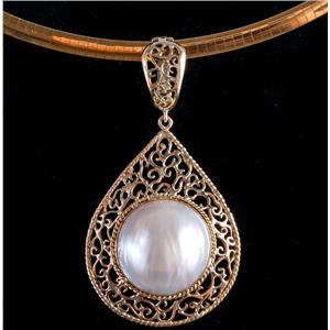 14k Yellow Gold Round Cabochon Cut Cultured Mabe Pearl Enhancer Pendant 11.6g