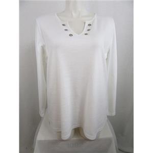 Quacker Factory Size 3X White Rhinestone Grommet Knit T-shirt