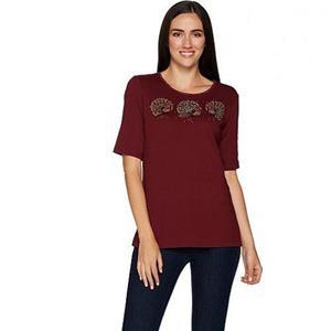 Quacker Factory Size 2X Turkeys/Wine FestiFall Sparkle Elbow Sleeve Knit T-Shirt