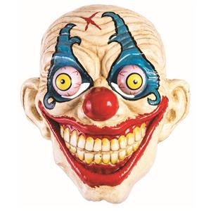 Googly Eyed Smiling Evil Clown Plastic Mask