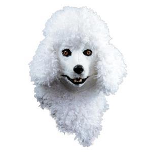 Creepy Poodle Dog White Moving Mouth Adult Costume Mask