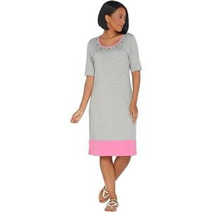 Quacker Factory Size 1X Grey/Pink Color-Blocked Knit Dress w/Rhinestone Grommets
