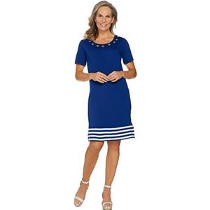 Quacker Factory 2X Light Navy Short Sl Striped Hem Knit Dress w/ Grommet Detail