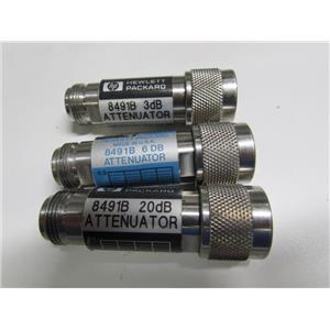Agilent HP 8491B Coaxial Fixed Attenuator, DC to 18 GHz, 3dB, 6dB & 20dB