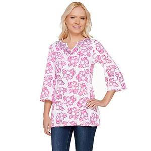 Quacker Factory Size 3X Pink Island Floral 3/4 Sleeve Tunic