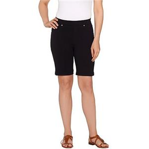 Susan Graver Size 1X Black Weekend French Knit Pull-On Bermuda Shorts