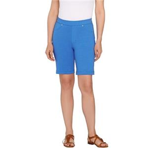 Susan Graver Size 1X Paris Blue Weekend French Knit Pull-On Bermuda Shorts