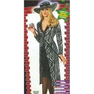 Ms. Kool Ladies Pump Zebra Print Coat Costume Size Small